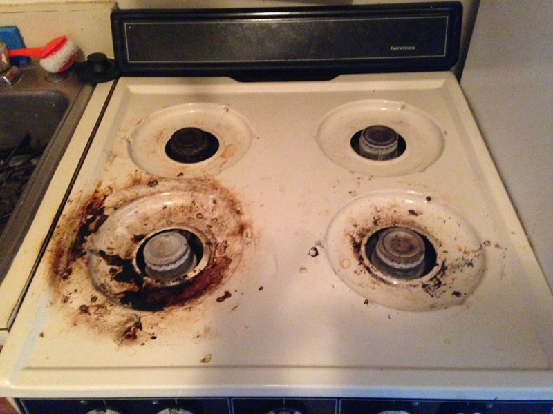 Cleaning up a greasy burnt stove after brewing hive mind How to clean top of oven
